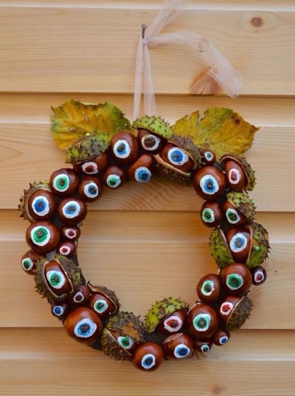 Kastanienkranz basteln zum Herbst – kreative Ideen und kinderleichte Anleitung kranz halloween augen malen