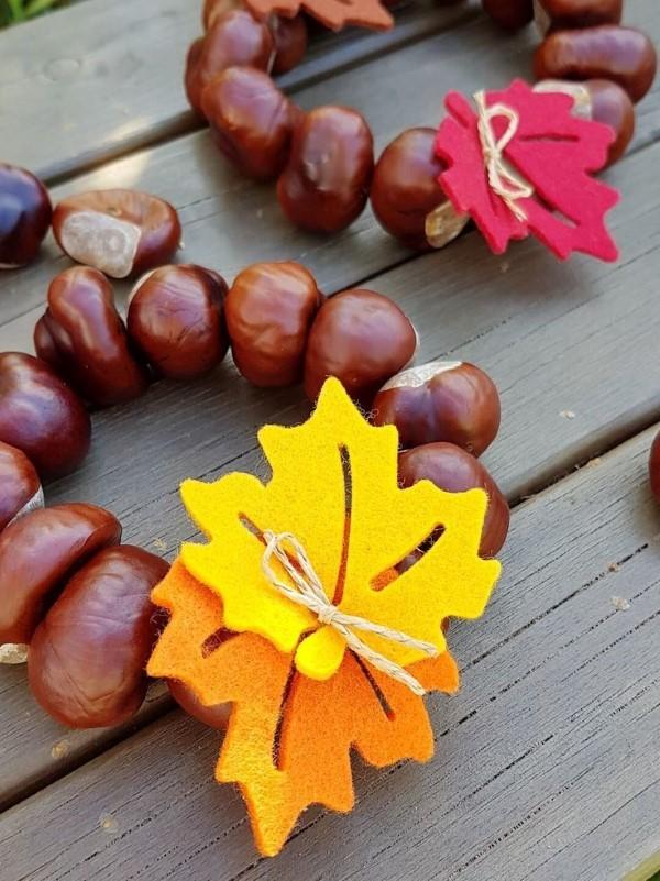 Kastanienkranz basteln zum Herbst – kreative Ideen und kinderleichte Anleitung laub basteln filz draht