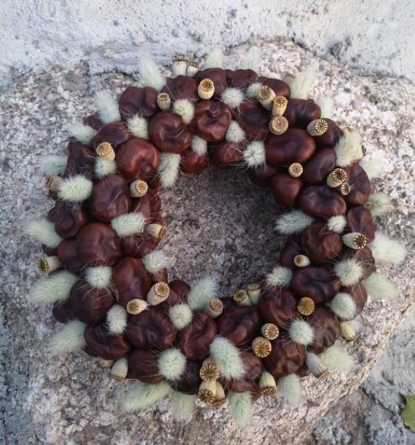Kastanienkranz basteln zum Herbst – kreative Ideen und kinderleichte Anleitung weidenkätzchen deko kranz