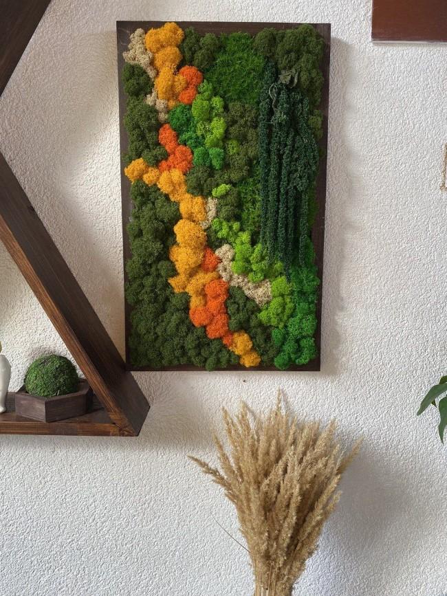 Moosbild selber machen – leichte DIY Anleitungen, Bastelideen und Tipps ausgefallene farben moos konserviert