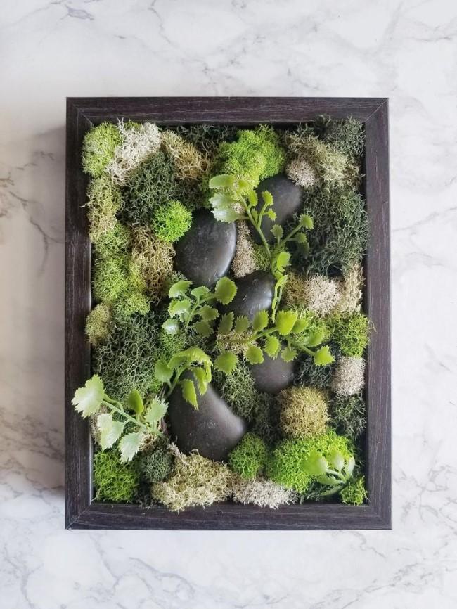 Moosbild selber machen – leichte DIY Anleitungen, Bastelideen und Tipps kunstpflanzen steine diy