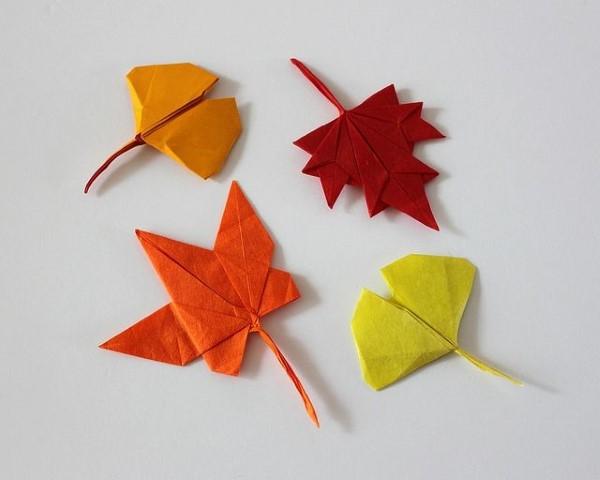Origami Herbst Deko selber machen – Ideen und Anleitung nach japanischer Art blätter bunt herbst