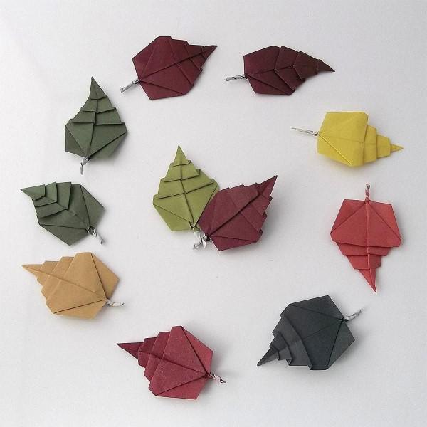 Origami Herbst Deko selber machen – Ideen und Anleitung nach japanischer Art bunte laubblätter diy