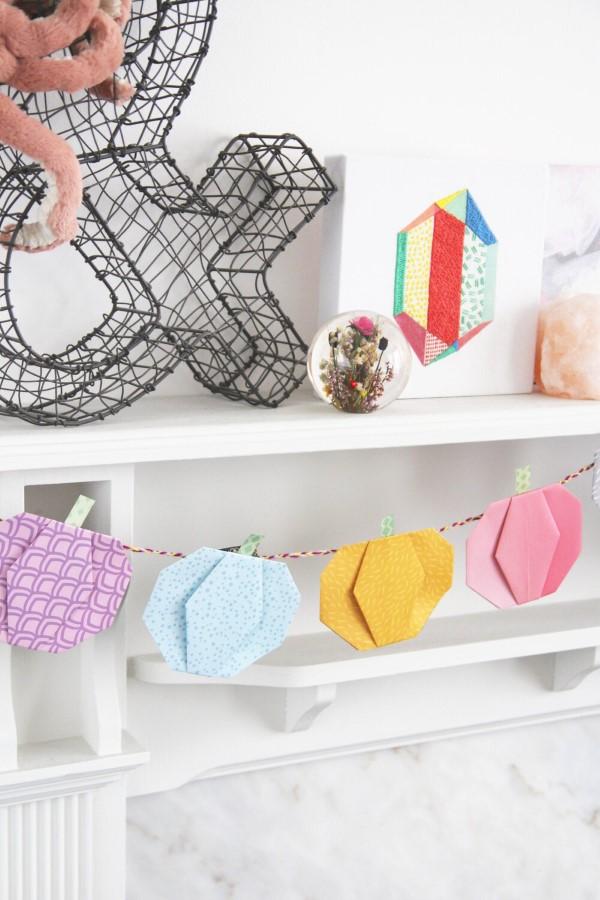 Origami Herbst Deko selber machen – Ideen und Anleitung nach japanischer Art diy girlande kürbisse