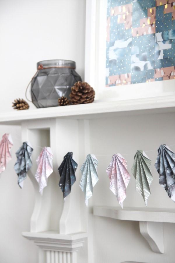 Origami Herbst Deko selber machen – Ideen und Anleitung nach japanischer Art girlande aus papier blätter