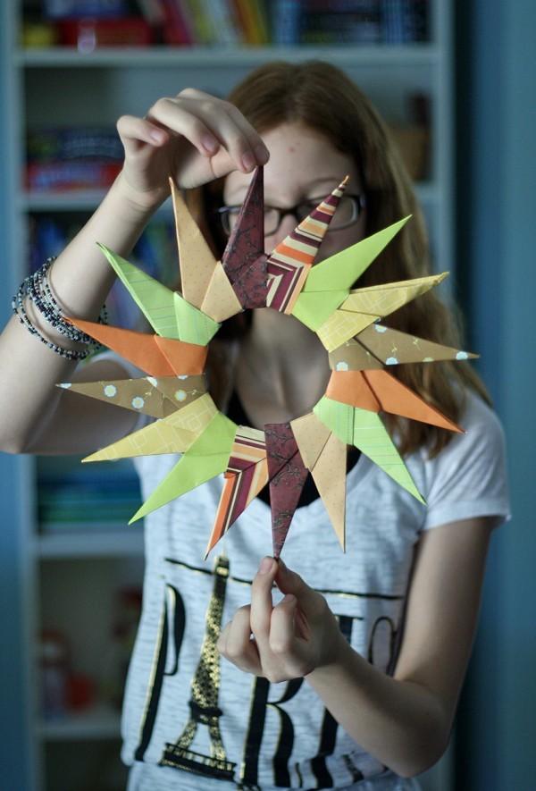 Origami Herbst Deko selber machen – Ideen und Anleitung nach japanischer Art herbstdeko stern ideen