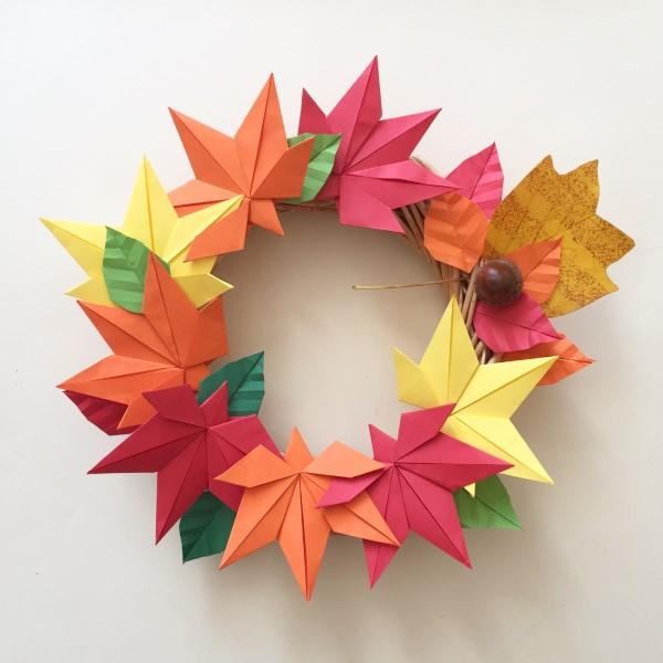 Origami Herbst Deko selber machen – Ideen und Anleitung nach japanischer Art kranz aus papier blätter
