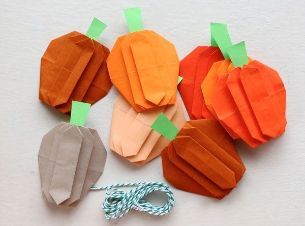 Origami Herbst Deko selber machen – Ideen und Anleitung nach japanischer Art mini kürbisse falten