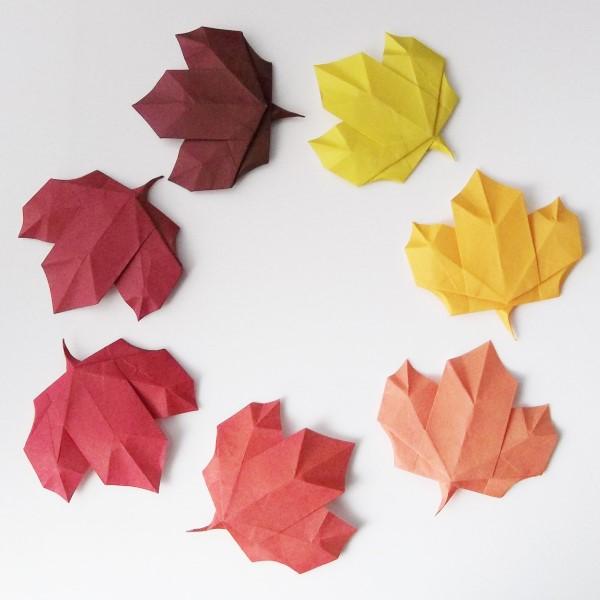 Origami Herbst Deko selber machen – Ideen und Anleitung nach japanischer Art origami blätter bunt realistisch