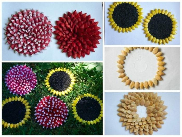basteln mit kuerbiskernen herbstblumen