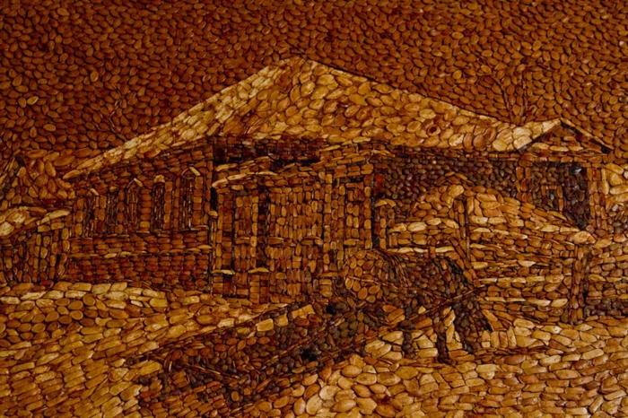 basteln mit kuerbiskernen kunstwerk