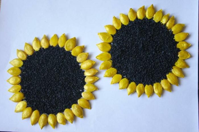 basteln mit kuerbiskernen sonnenblumen