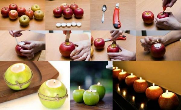 diy kerzen aus äpfeln herbst tischdeko