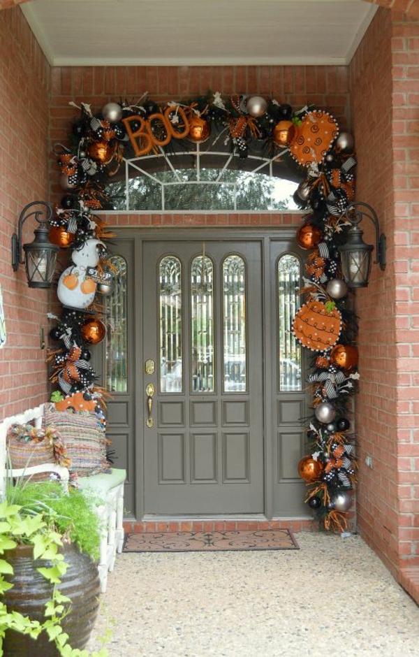halloween türdeko ausgefallene girlande eingang dekorieren