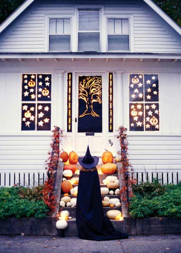 halloween türdeko fensterdeko schwarz weiß kontrast