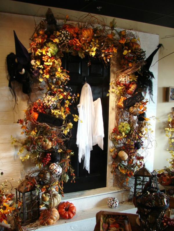halloween türdeko gespenster originelle dekoideen