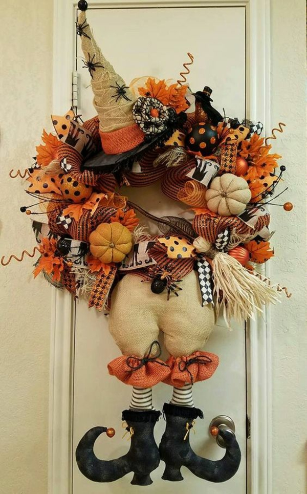 halloween türdeko origineller türkranz farben kombinieren