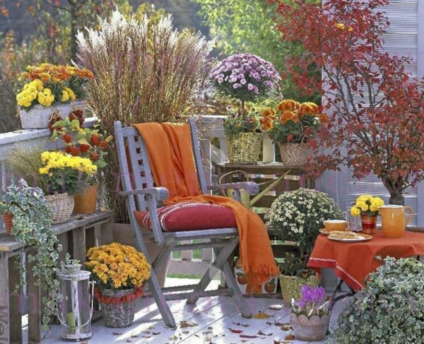 herbstbepflanzung balkon warme farbnuancen kombinieren gemütliche stimmung schaffen