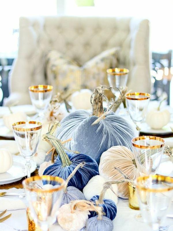 herbstdeko tisch ausgefallen elegante farben kombinieren