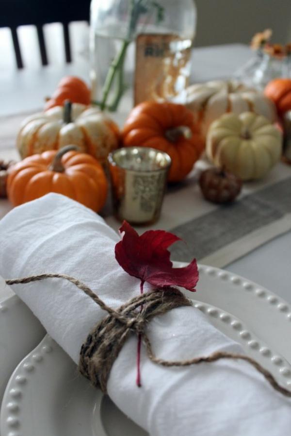 herbstdeko tisch serviettenringe selber machen