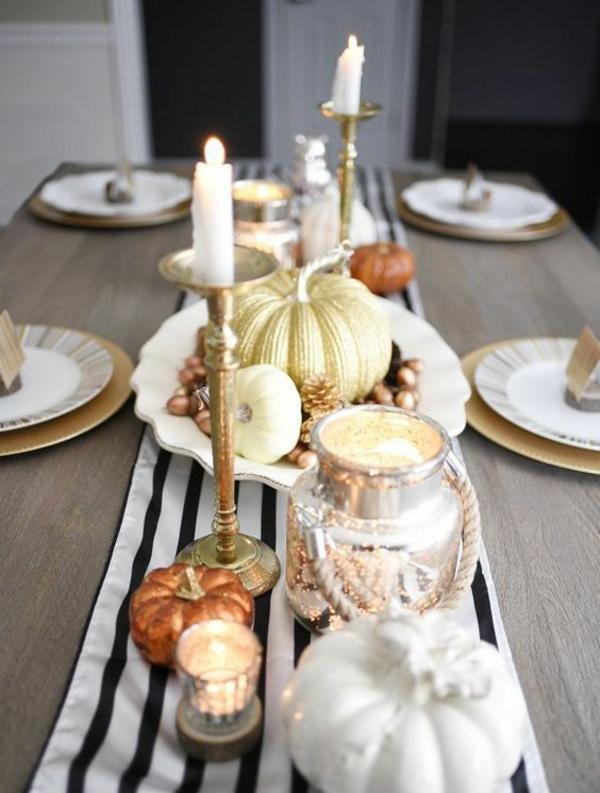 herbstdeko tisch tischläufer herbstlich dekorieren