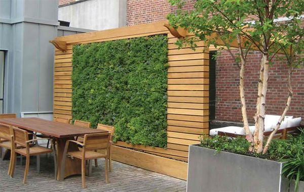 lebende grüne Wandgestaltung gemütlicher Garten