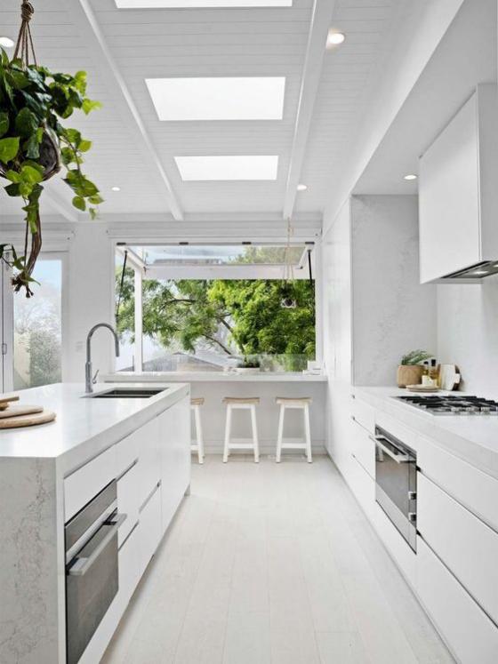 moderne Küche geräumig hell luftig großes Fenster zum Hinterhof Deckenfenster für zusätzliches Licht grüne Hängepflanze