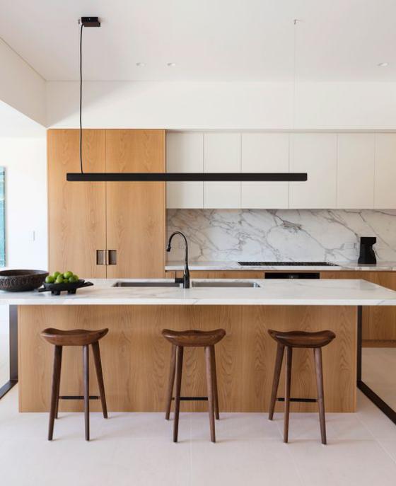 moderne Küche perfektes Raumdesign im minimalistischen Stil gerade Linien klare Formen dezente Farben
