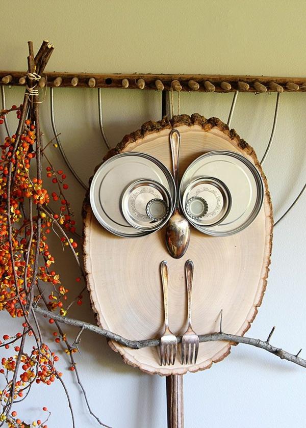 natürliche Deko-Ideen Herbst Eule basteln