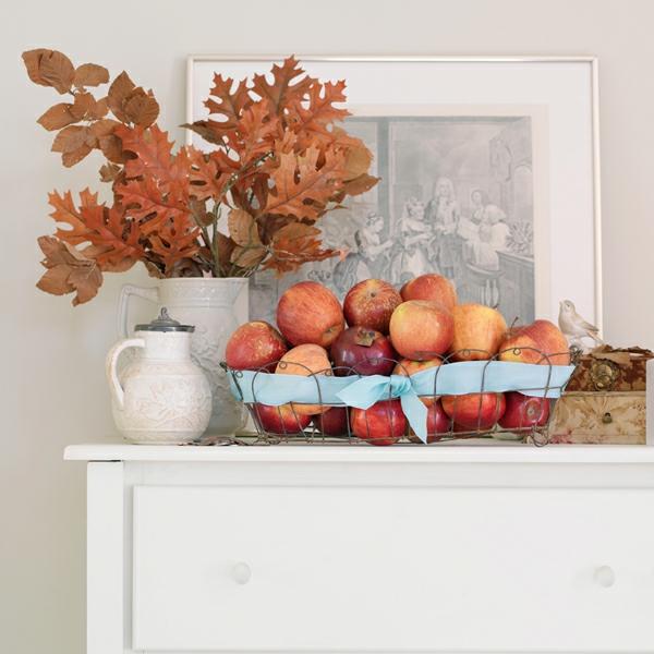 natürliche Deko-Ideen Herbst Kaminsims dekorieren