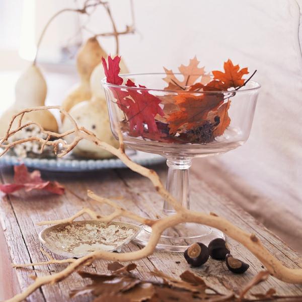 natürliche Deko-Ideen Herbst Tannenzapfen Blätter