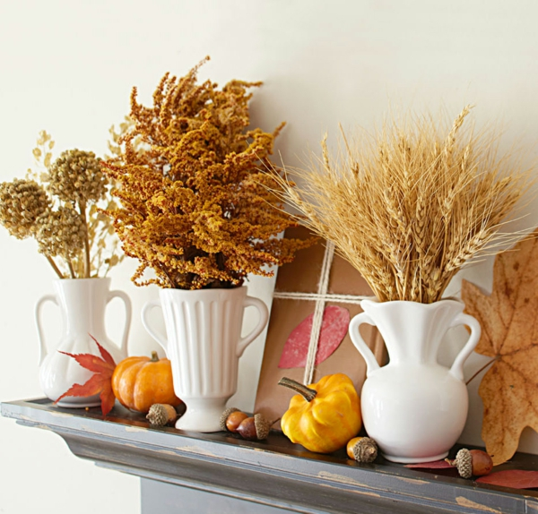 natürliche Deko-Ideen Herbst getrocknete Ziergräser
