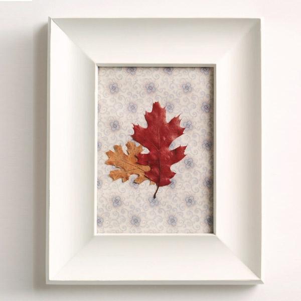 natürliche Deko-Ideen Herbstblätter in Rahmen