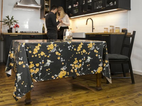 wachstuch tischdecke offene wohnküche esstisch deko