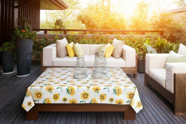 wachstuch tischdecke terrasse gestalten ideen frisches muster