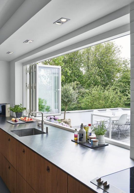 Faltfenster moderne Fensterkonstruktion hohe Transparenz gute Durchsicht
