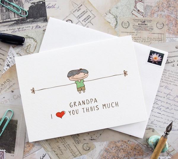 Geschenk für Opa basteln mit Kindern – liebevolle Ideen und 2 einfache DIY Anleitungen grußkarte kinder diy malen