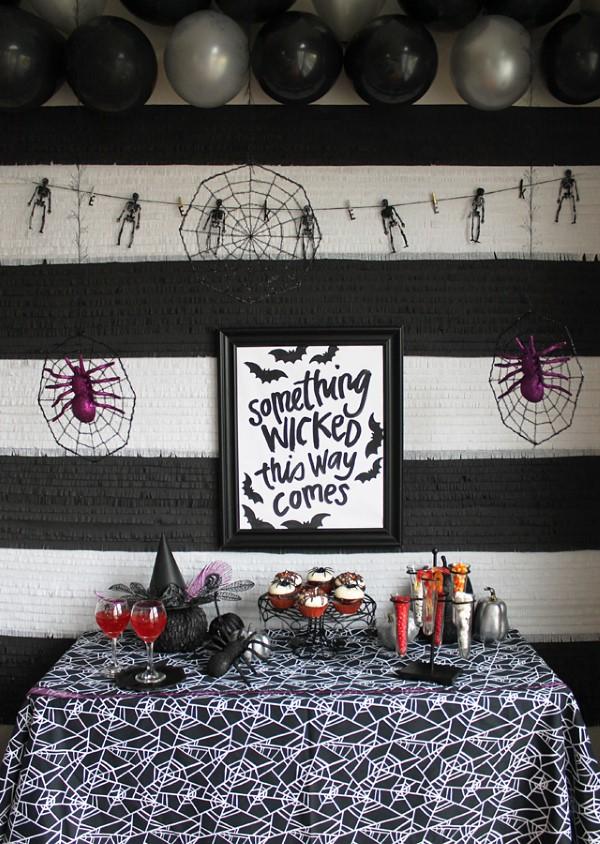 Halloween Buffet – Deko Ideen und Tipps für eine tolle Gruselparty schwarz weiß deko ideen spinnen