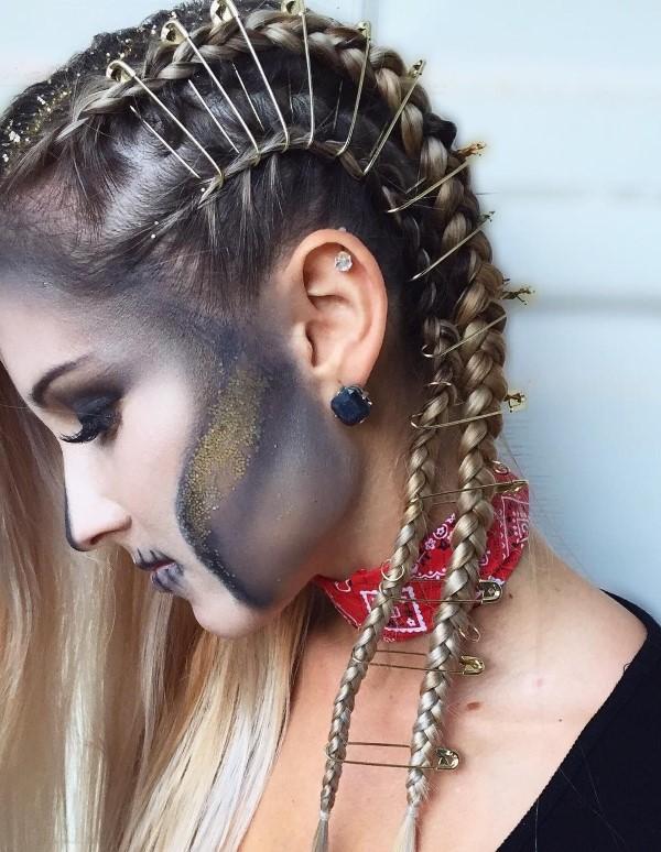 Halloween Frisuren Ideen und Tipps für ein gelungenes Grusel-Outfit flechtfrisur gruselig gestalten