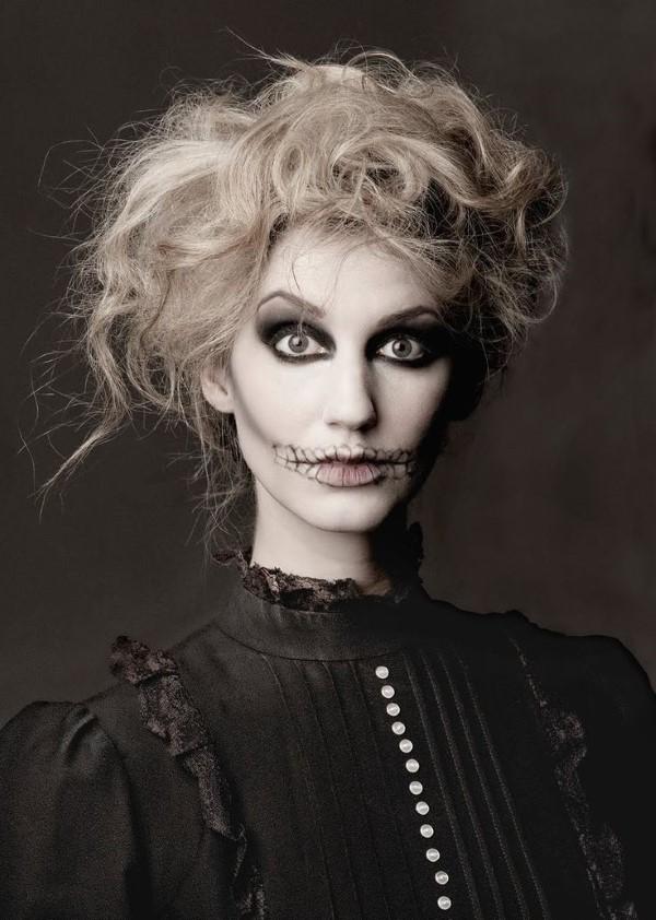 Halloween Frisuren Ideen und Tipps für ein gelungenes Grusel-Outfit frankenstein monster frau
