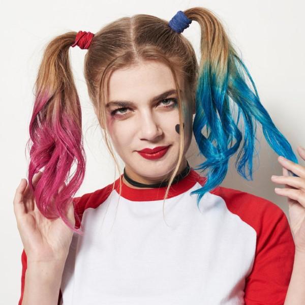 Halloween Frisuren Ideen und Tipps für ein gelungenes Grusel-Outfit harley quinn rosa blau