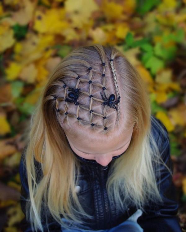 Halloween Frisuren Ideen und Tipps für ein gelungenes Grusel-Outfit kinder frisur spinnen