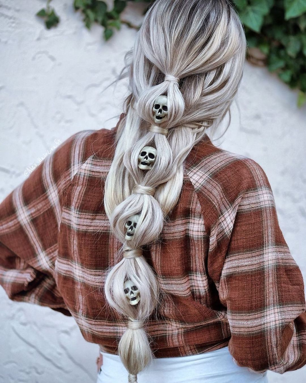 Halloween Frisuren Ideen und Tipps für ein gelungenes Grusel-Outfit totenkopf frisur ideen
