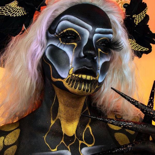Halloween Makeup Ideen und Tipps für Ihr diesjähriges Kostüm hexe demon ideen schwarz und gold