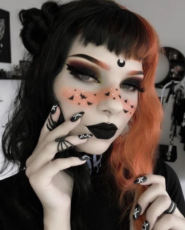 Halloween Makeup Ideen und Tipps für Ihr diesjähriges Kostüm schön elegant orange