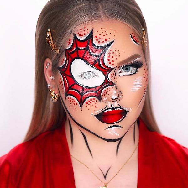 Halloween Makeup Ideen und Tipps für Ihr diesjähriges Kostüm spiderman spiderwoman comic