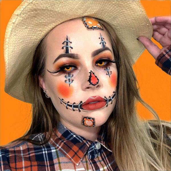 Halloween Makeup Ideen und Tipps für Ihr diesjähriges Kostüm vogelscheuche gruselig einfach