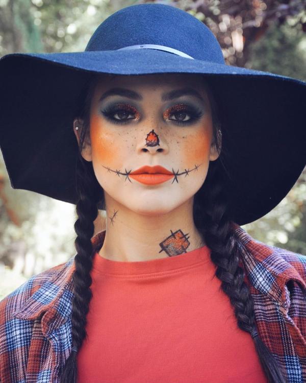 Halloween Makeup Ideen und Tipps für Ihr diesjähriges Kostüm vogelscheuche kostüm
