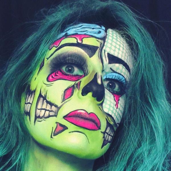 Halloween Makeup Ideen und Tipps für Ihr diesjähriges Kostüm zombi pop art ideen