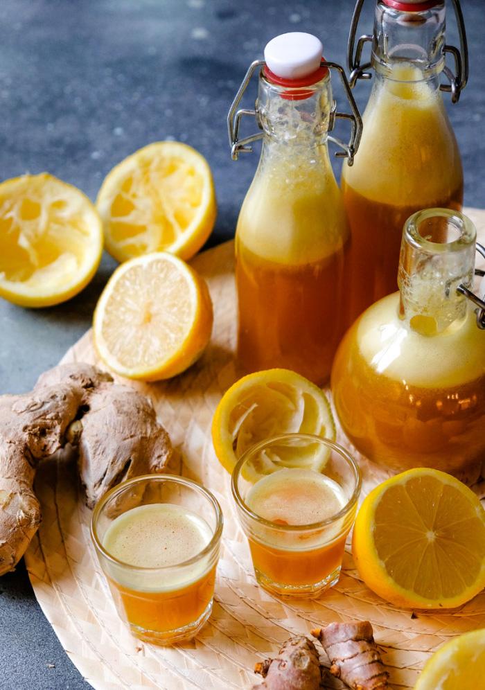 Ingwer Shot selber machen einen Shot 50 g pro Tag trinken gesund und fit bleiben